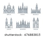set line icons of cities. the... | Shutterstock .eps vector #676883815