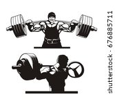 squat  bodybuilder squats ... | Shutterstock .eps vector #676885711