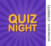 quiz night neon light sign in... | Shutterstock .eps vector #676886551