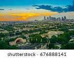 dallas skyline sunset aerial... | Shutterstock . vector #676888141