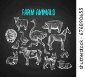 set of farm animals in the... | Shutterstock .eps vector #676890655