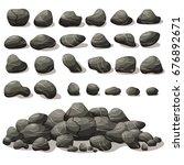 rock stone cartoon in isometric ... | Shutterstock .eps vector #676892671