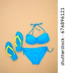 summer bikini and accessories... | Shutterstock . vector #676896121