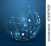 digital blue lines. color... | Shutterstock . vector #676907629