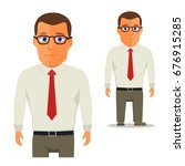 man in white shirt with red tie ... | Shutterstock . vector #676915285
