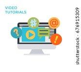 flat design monitor icon video... | Shutterstock . vector #676915309