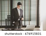 businessman working at office... | Shutterstock . vector #676915831