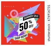 summer sale geometric style web ... | Shutterstock .eps vector #676916731