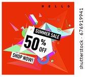 summer sale geometric style web ... | Shutterstock .eps vector #676919941