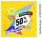 summer sale geometric style web ... | Shutterstock .eps vector #676919959