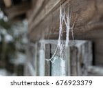Frozen Spiderweb On A Wooden...