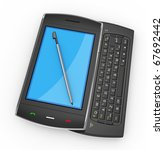 Black mobile smartphone with pen isolated on white. This is a detailed 3D render. - stock photo