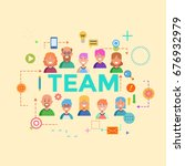 concepts of word team. flat... | Shutterstock . vector #676932979