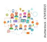 concepts of word team. flat... | Shutterstock . vector #676933015