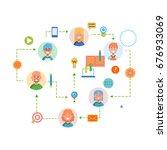 flat design banner for workflow ... | Shutterstock . vector #676933069