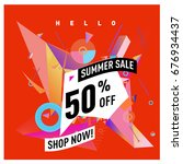 summer sale geometric style web ... | Shutterstock .eps vector #676934437