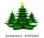 Abstract 3d illustration of Christmas trees over white background - stock photo