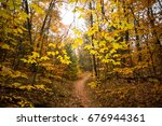 fall foliage in new england  | Shutterstock . vector #676944361