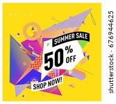 summer sale geometric style web ... | Shutterstock .eps vector #676944625