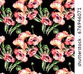 wildflower poppy flower pattern ... | Shutterstock . vector #676946071