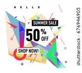 summer sale geometric style web ... | Shutterstock .eps vector #676946905