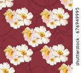 seamless pattern with white... | Shutterstock .eps vector #676949995