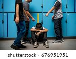 boy student getting bullied in... | Shutterstock . vector #676951951