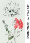 Stock photo leaves flowers watercolor draw art design 676961539