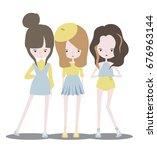fashion girl korean stye ...   Shutterstock .eps vector #676963144