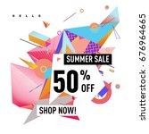 summer sale geometric style web ... | Shutterstock .eps vector #676964665