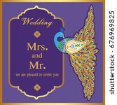 wedding invitation or card with ...   Shutterstock .eps vector #676969825