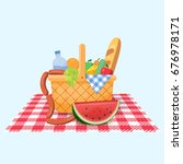 basket for a picnic with fruit... | Shutterstock .eps vector #676978171