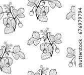 wild strawberries seamless...   Shutterstock .eps vector #676979794