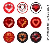 abstract heart symbol logo icon | Shutterstock .eps vector #676981075