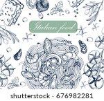 italian cuisine   food   pasta  ... | Shutterstock .eps vector #676982281