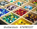 Colorful glass beads made in...