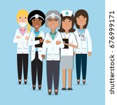 women doctors and nurse with... | Shutterstock .eps vector #676999171