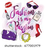 fashion is my passion. girlish... | Shutterstock .eps vector #677001979