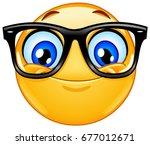 happy emoticon wearing...   Shutterstock .eps vector #677012671