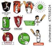 batsman sports player playing... | Shutterstock .eps vector #677018224