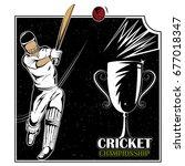 batsman sports player playing...   Shutterstock .eps vector #677018347