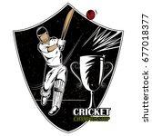 batsman sports player playing...   Shutterstock .eps vector #677018377