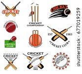 cricket sports bat  ball and... | Shutterstock .eps vector #677019259