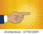 hand pointing a finger to the... | Shutterstock .eps vector #677021005