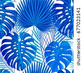 seamless pattern with blue... | Shutterstock .eps vector #677023141
