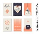 set of decorative christmas... | Shutterstock .eps vector #677025304