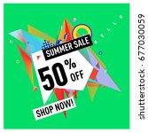 summer sale geometric style web ...   Shutterstock .eps vector #677030059