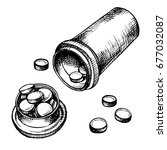 hand drawn medicine pills ... | Shutterstock .eps vector #677032087