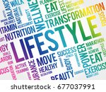 lifestyle word cloud  fitness ... | Shutterstock .eps vector #677037991