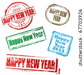 Happy New Year Stamp Set 1 - stock vector